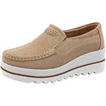 Zapatos Planos Muffin Mujer Sneakers Cuero Zapatos Casuales Creepers Mocasines ❤ Manadlian ...