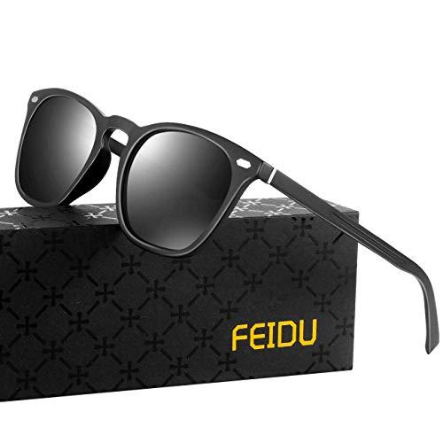 FEIDU retro polarisierte sonnenbrille herren - Farbwechselnde Sonnenbrille damen,Transparente Farblinse, Kompositmaterial und Al-Mg Metall Passende Ausführung FD0581 (Matt schwarz, 65)