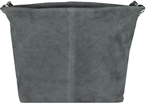 Kerry WILD Schultertasche aus Wildleder Made in Italy, 28x24x13 cm (B x H x T) Grau