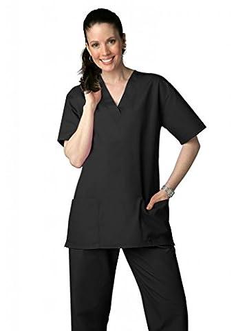 Adar Medical Unisex Drawstring Hospital Nurse Scrub Set (Available in 39 colors) - 701 - Black - L