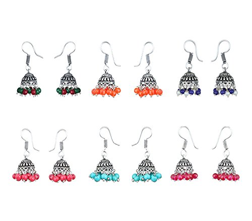 Waama Jewels Multicolor Silver-Plated Combo Of 6 Jhumki Earrings For Women