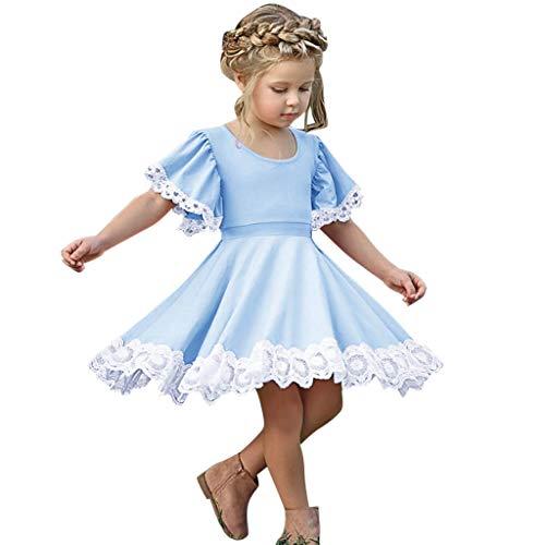 LEXUPE Kleinkind Kind Baby mädchen Kurzarm Spitze folral Patchwork Prinzessin Kleid Kleidung(Blau,110)