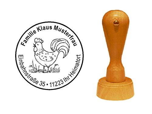 Stempel Adressenstempel Motivstempel « HAHN VINTAGE » Durchmesser ca. Ø 40 mm - mit persönlicher Adresse und Motiv - Bauer Bauernhof Ei Farmer Huhn Morgen Hahn