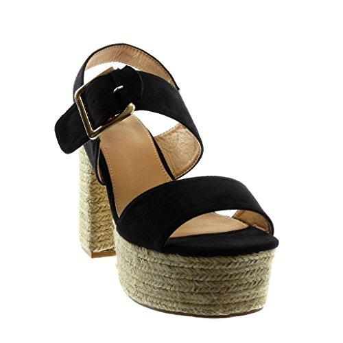 Angkorly Scarpe Moda Sandali Mules con Cinturino Alla Caviglia Zeppe Donna Corda Tanga Fibbia Tacco a Blocco Alto 11 cm Nero