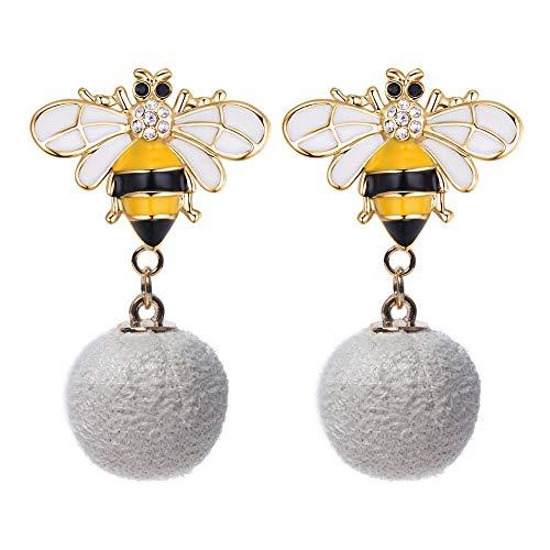 (Katylen Süße Kleine Frische Dame Schmuck Mode Übertrieben Stil Biene Haar Ball Ohrringe Biene Ohrringe,Weiß,Einheitsgröße)