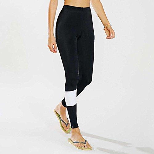 Leggings pour femmes,Tonwalk Tondu Leggings Taille haute Pantalon de course de yoga Pantalons extensibles Noir