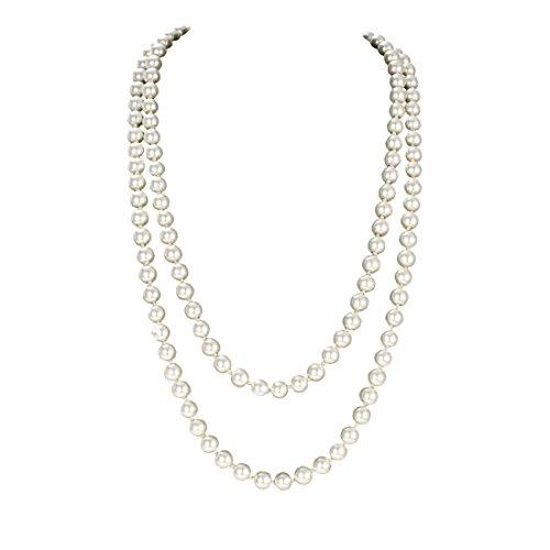 Vintage Faux Perlen Kette 1920er Art Deco Perlen Flapper Gatsby Halskette Accessoires Damen für Kostüm Party 150cm Lange