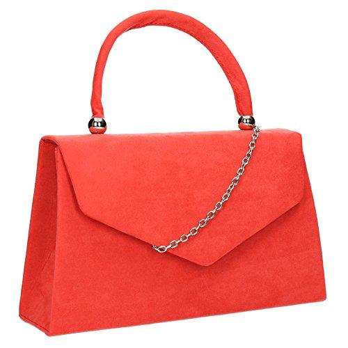 Swankyswans Damen-Clutch Kendall, Veloursleder/Samt, Briefumschlag-Design, ideal für Partys, Hochzeiten, feine Anlässe - Koralle Nude Patent Leather