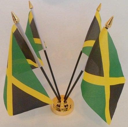 Jamaika 4Jamaikanische Flagge Rasta Notiztafel Desktop-mit goldfarbenen Basis (Desktop-flags)