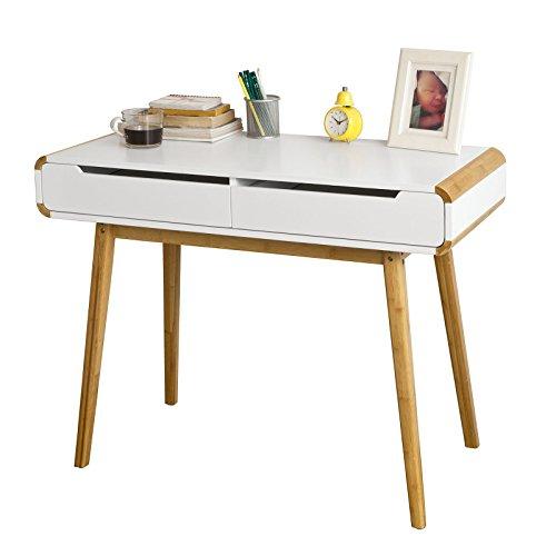 Promotion -20%! SoBuy® FWT19-WN Bureau Informatique Bureau Secrétaire Table Plan de travail avec 2 tiroirs