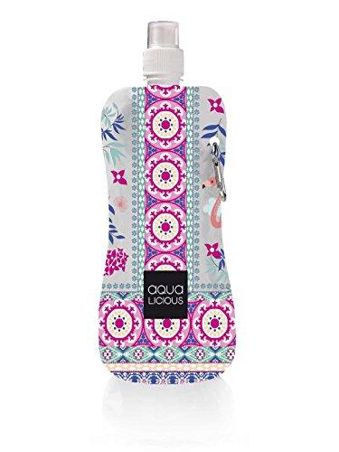 Faltbare Trinkflasche mit Karabiner, wiederverwendbar mit tollen Motiven (Happy Flamenco)