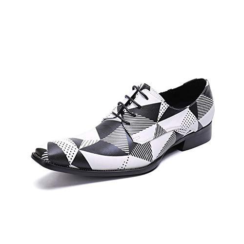 Rui Landed Oxford Für Mann Formelle Schuhe Schnüren Stil Hochwertigem Echtem Leder Mode Tangram Geprägte Jugend Trend Nachtclub (Color : Weiß, Größe : 45 EU) -