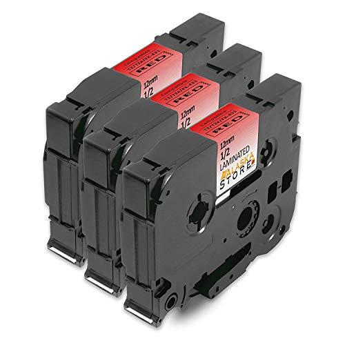 3x Nastro Cassette Etichette Brother TZe-431 TZ-431 Nero su Rosso 12mm x 8m Compatibile con Tze Tape Brother P-Touch 1005 E100 H100R H105