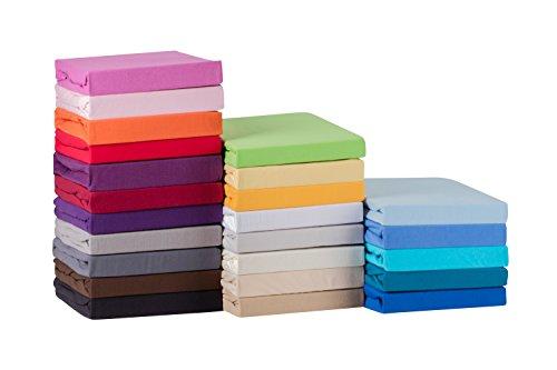 S.Ariba Soft Comfort Baumwolle Jersey-Stretch Spannbettlaken, verschiedene Farben und Größen, Pink 90x200cm bis 100x200cm