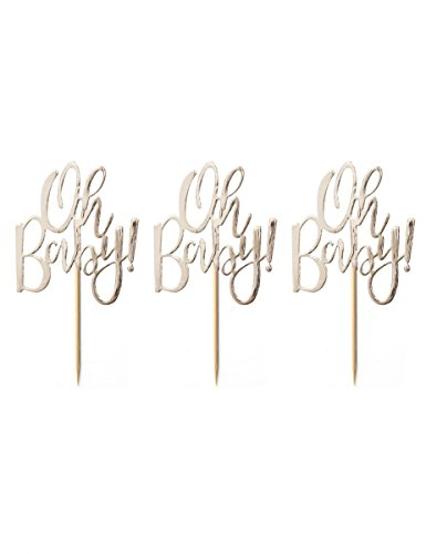 GOLD FOILED OH BABY! CUPCAKE TOPPERS - OH BABY! Baby Boy Cupcake