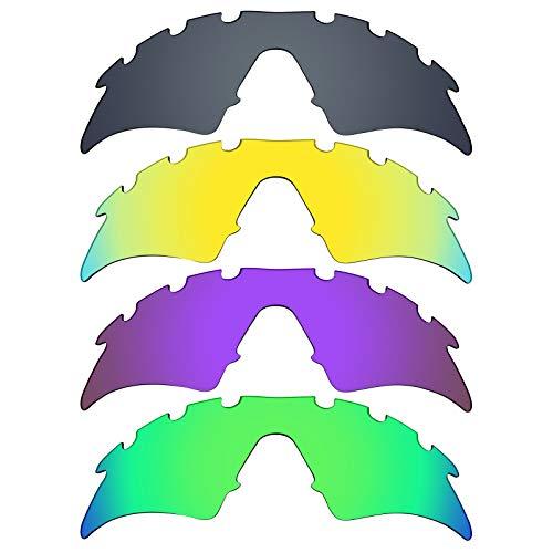 MRY 4Paar Polarisierte Ersatz Lenses für Oakley M Frame Sweep belüftet sunglasses-black Iridium/24K Gold/Plasma violett/Smaragd Grün