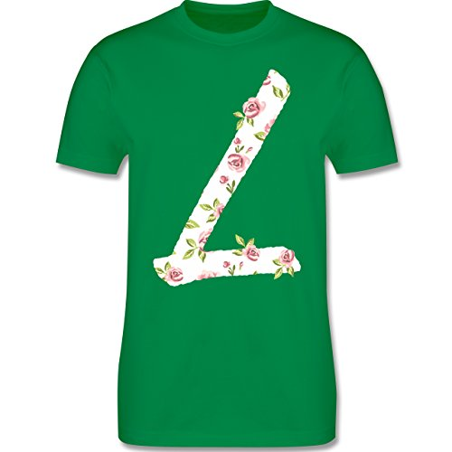 Anfangsbuchstaben - L Rosen - Herren Premium T-Shirt Grün