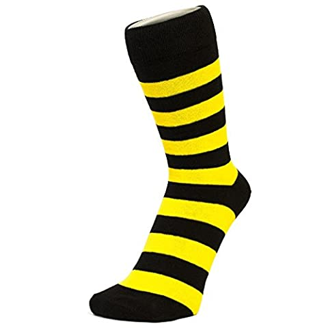 Black And Yellow Thick Striped Ankle Socks (Size: 4-7)