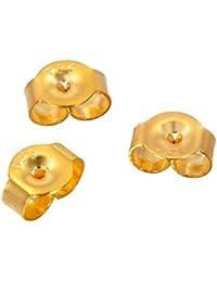 HOUSWEETY Lot de 10 Poussoirs Embouts Papillon Boucles d'Oreilles Clou en Argent 925/1000 et 18K Rhodiage