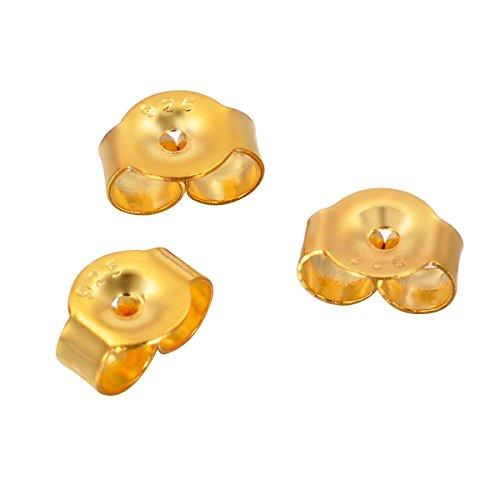 HOUSWEETY Lot de 10 Poussoirs Embouts Papillon Boucles d'Oreilles Clou en Argent 925/1000 et 18K Rhodiage 18K or