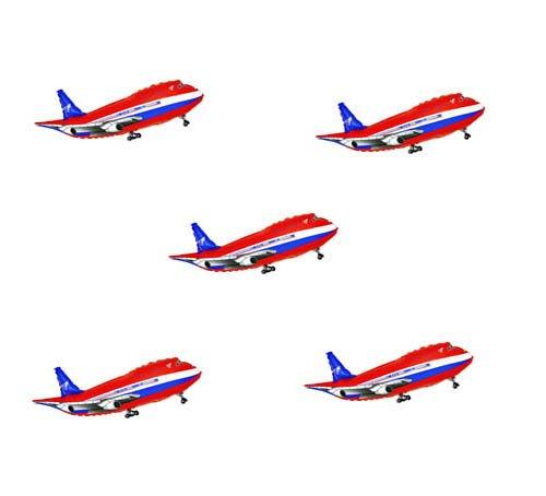 (Folienballon 5 x Flugzeug rot Shape Folienballons mit Helium befüllbar)