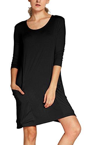 damen-3-4-armeln-t-shirt-kleid-lose-taschen-stretch-basic-kleider-m-schwarz