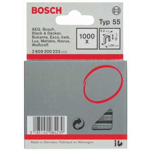 Bosch 2609200223 Agrafe à dos étroit Type 55 6 x 1,08 x 18 mm 1000 pièces