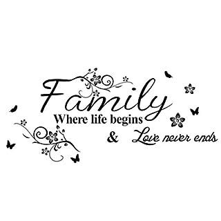 YanHoo Hot!Art Family Beautiful Flower Wall Stickers Home Words Decor Wall Sticker (A)
