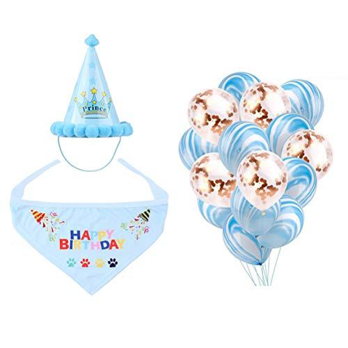 POPETPOP Hund Geburtstag Hut Haustier Geburtstag Set Geburtstag Schals Crown Caps Ballon für Katze Geburtstag Zubehör (Hunde Ballon Kostüm)