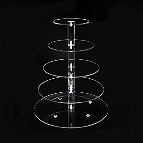 Acrylic Cupcake Stand 5 Tier Display Tower Tree for Stacked Serving Tray for Party Wedding (Torta Nuziale Livello Stand)