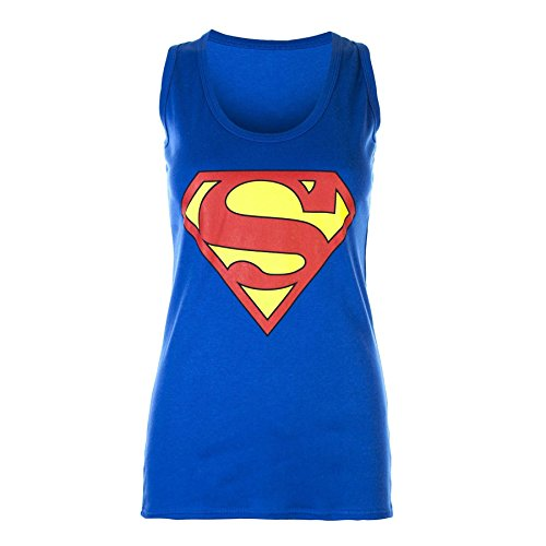 Pure Fashion - Damen Frauen Ärmelloses Muskel T-Shirt Top Racer Rücken Dehnbar Comic Superhelden Tank Top - 36-38, Blau Superman - Dehnbar Celebrity (Superhelden Damen Shirt)