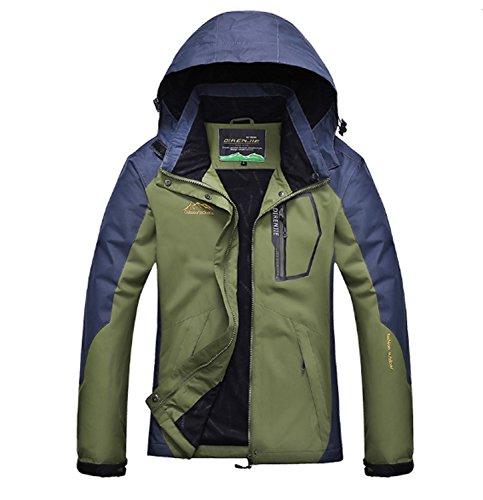 Huaishu Frauen Wasserdichte Jacken Verdickung Winddicht Sportbekleidung Wandern Mountaineer Reise Winter Im Freien Warme Regenjacke (Color : Green, Size : M)