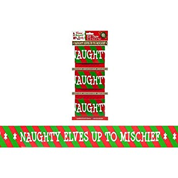Naughty Elf Tape - 3 x 3 Yards Of Tape - Novelty Christmas Decorations