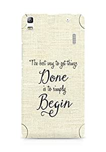 AMEZ the best way to get things done is to begin Back Cover For Lenovo K3 Note