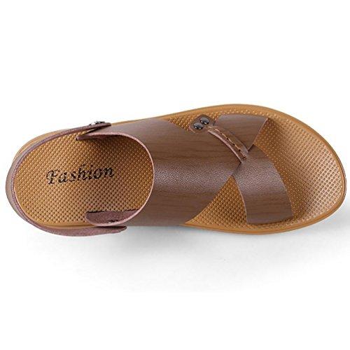 SHANGXIAN Pigro guida suola sandalo uomo piatto (due generi di tees) Khaki
