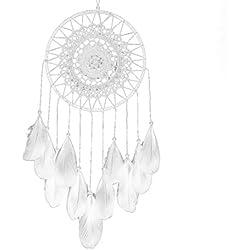 Ouneed® Plume Cercle de Attrape-rêves Chambre Deco D= 20cm L=50cm (Blanc)