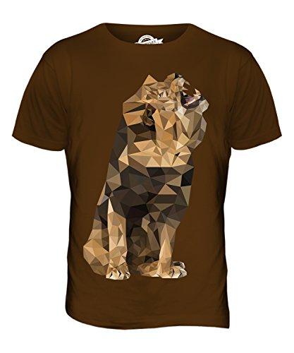 CandyMix Geometrischen Brüllenden Löwen Herren T Shirt Braun