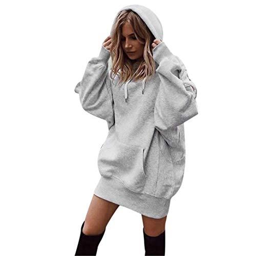 Lady einfarbig Langer Abschnitt Kapuzen Hoodie -Frauen Mode Einfarbig Kleidung Hoodies Pullover Mantel Hoody Sweatshirt-Outdoorbekleidung Oberteile-Jumper Pullover Oberteile (Grau,L)