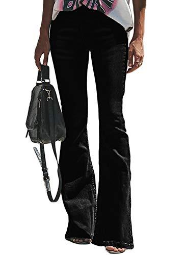 Aleumdr Mujer Pantalones Elástico para Mujer Jeans Cintura Alta Jeans De Campaña Negro Size S