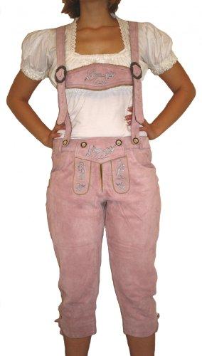 Preisvergleich Produktbild Damenlederhose Damen kniebundhose Trachten Lederhose Ziegenleder ROSA, Größe:48