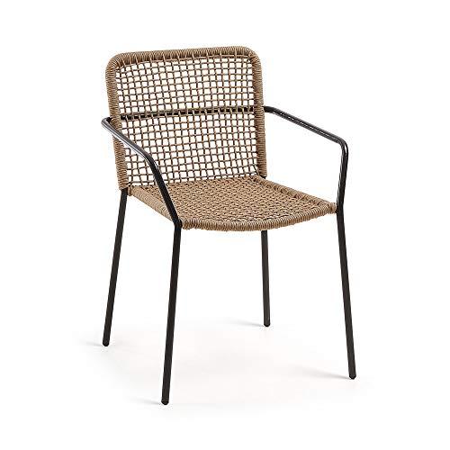 Kave Home Chaise avec accoudoirs Boomer Corde Beige et Pieds Acier Noir
