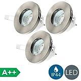 3x3W LED Focos empotrables de baño Ø85mm GU10 IP44, Blanco Cálido 3000K 250lm, profundidad 75mm, Downlight