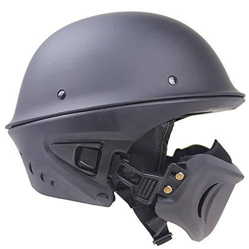 OLDF Black Motorcycle Helm DOT Approved Rouge Helm Model Modular Helm für Real Riders Harley Retro...