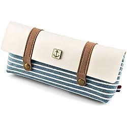 TININNA Armada vintage raya lienzo caja de lápiz de la pluma del bolso cosmético del bolso del maquillaje con cremallera para Chicas Chicos Shcool Azul claro