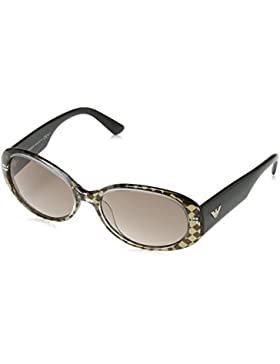 Emporio Armani - Gafas de sol Wayfarer EA 9608/S para mujer, Dark Brown Chequered Effect Frame / Brown Grey Gradient