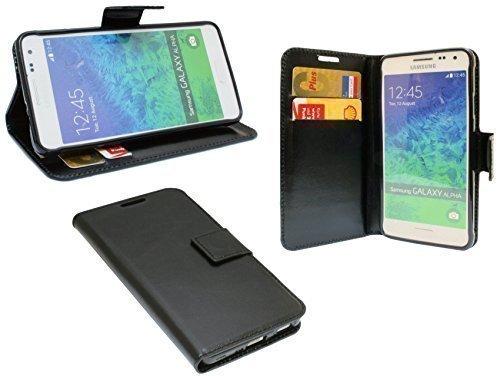 ENERGMiX Elegante Buch-Tasche kompatibel mit Samsung Galaxy Alpha G850F in Schwarz Leder Optik Wallet Book-Style -