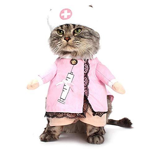 DEjasnyfall Kreative Lustige Pet Uniform Weiche Bequemes Hemd Haustier Katzen Hunde Kleidung Krankenschwester Cosplay Kostüm Kleid Pet ()