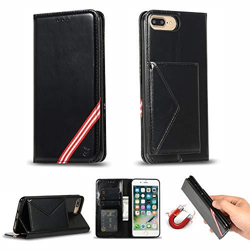 Miagon für iPhone 7 Plus / 8 Plus Hülle,Wallet Case Cover Schutzhülle und Klapp Magnetisch Flip Bumper Ledertasche Schutzhülle,Schwarz