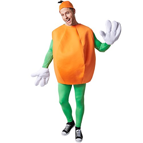 Kostüm Orange Orangenkostüm | ärmelloses Oberteil | Große, lustige Handschuhe | Inkl. Kopfbedeckung (M | Nr. 301634) ()