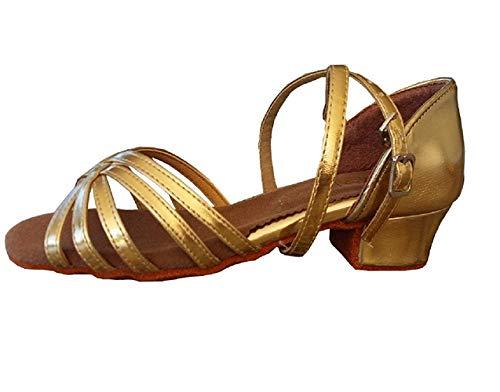 Tanzschuhe - Lateinamerikanisch - Mädchen - Mädchen - Ballsaal - Goldfarbe - WY-070 (Größe 35 EU = 35 vom Hersteller)